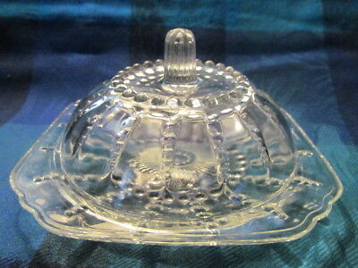 Federal, Depression Glass, Columbia Pattern, Clear Butter Dish - Vgc