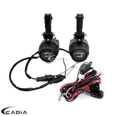 Motorcycle LED Auxiliary Lamp & Spot Fog Light Wiring Loom Harness Kit For BMW
