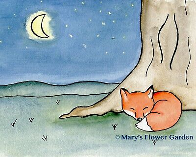 Nursery art print, Fox watercolor painting, Children's illustration, wall decor