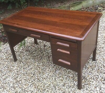 Superb 1950S Small Oak Writing Desk Very Clean 2 Man Delivery