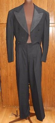 Vintage Black Wool Tuxedo Suit Tails Tailcoat Trousers Pants