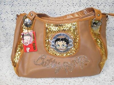 Extra Large Betty Boop Purse Hand Bag Tote Satchel with Sequins & Rhinestones
