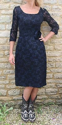 Vintage 60s Textured Paisley Lace Sheer Sleeve Navy Blue Party Dress S 10