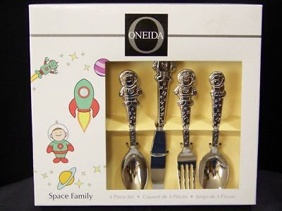 ONEIDA Flatware 4 piece Childrens Silverware Set Space Family - Stainless Steel