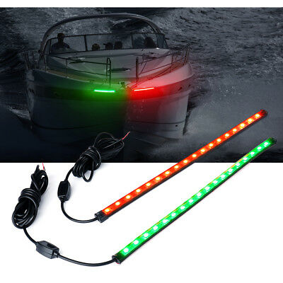 "Xprite 12"" LED Red Green Navigation Light Strip Bar for Marine Boat Bow Vessel"