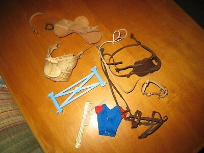 LOT OF 9 ITEMS - Model Horse Accessories SADDLES BRIDALS COMB FENCE CLOTHING