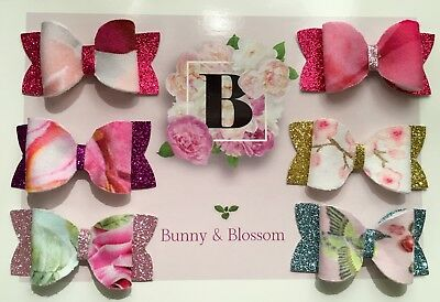 pack of 6 baby girls surprise ted baker mini hair bows on clips or headbands