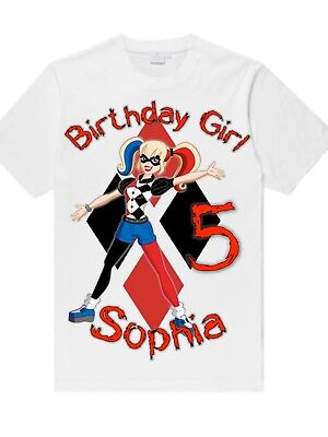 Personalized Custom Made Harley Quinn T-Shirt for Adult or Child Birthday Party