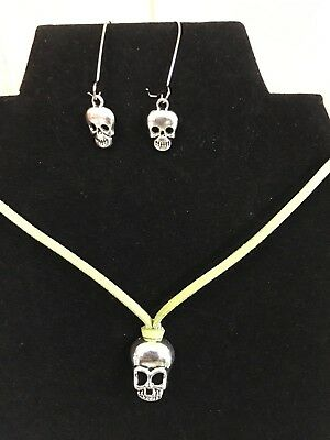 Green leather skull necklace and earrings FUN dangle scuba diving GIFT #25