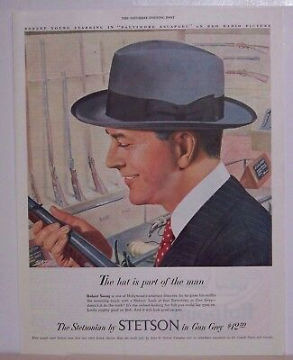 Vintage Original Magazine Ad Stetson Hats with Robert Young 1949