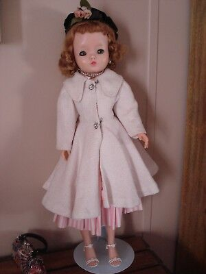 "Madame Alexander Cissy Vintage 1950's Doll 21"" with dress, coat, jewelry, hat"