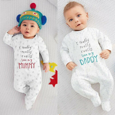 Baby Boy Girl Love Mom Dad Romper Jumpsuit Toddler Cotton Clothes Bodysuit 0-18M