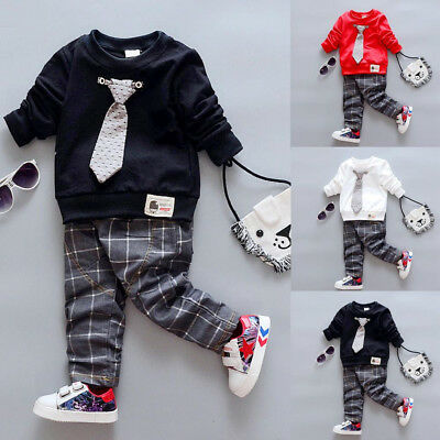 Toddler Kids Baby Boys Outfits Winter Warm T-shirt Tops Plaid Pants Clothes Set