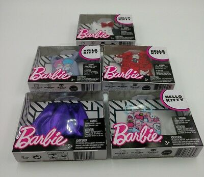 Mattel Barbie Hello Kitty Fashion Tops Skirts Doll Clothes Variety Lot of 5 Pcs