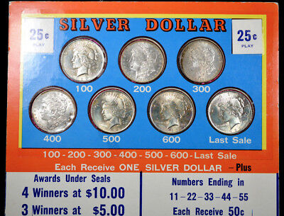 Rare 7-Coin Silver Dollar Punch Board 3 Morgan 4 Peace Dollars