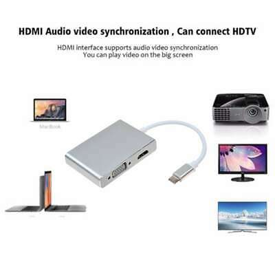 Multiport 4 in 1 USB Type-C to VGA /DVI/HDMI/USB Port Adapter Converter Cable