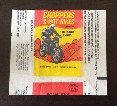 """1974 Scanlens """"Choppers & Hot Bikes"""" - Wax Pack Wrapper"""
