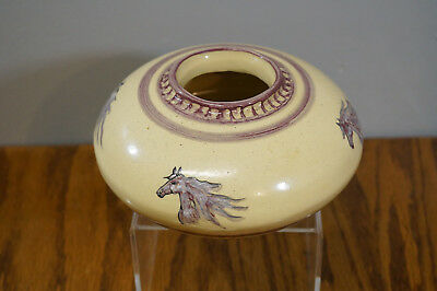 """Hand Crafted Cherokee Stoneware Painted Horse Pottery Bowl 6"""" Diameter"""