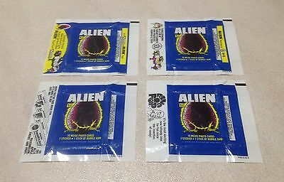 """1979 Topps """"Alien"""" - Lot of 4 Wax Pack Wrapper Variations"""