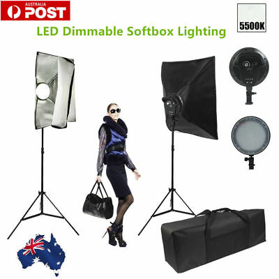 Photo Studio LED Dimmable Softbox Lighting Set 50x70cm Soft Box Light Stand Kit