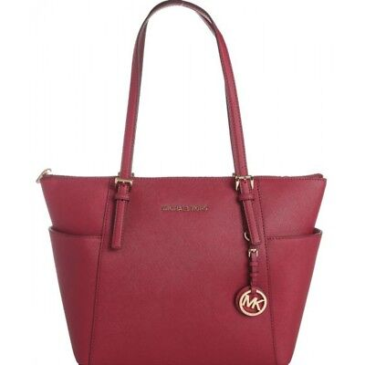 Michael Kors Leather Jet Set North South Top-Zip Tote Cherry Red 30F2GTTT8L