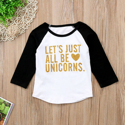 US Stock Kids Baby Girl Boy Long Sleeve Unicorn T-shirt Top Tees Outfits Clothes