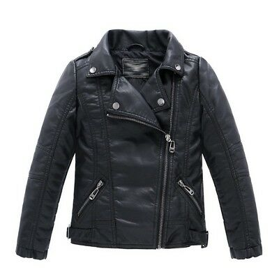 Children's Collar Motorcycle Leather Coat Boys Leather Jacket Black T13-14 - NEW