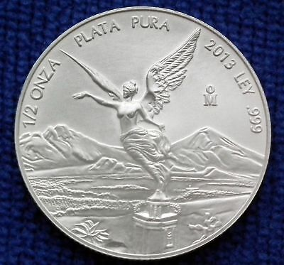 2013 Mexico LIBERTAD 1/2 oz .999 Silver New/Mint/Unc in Mint Capsule, one coin