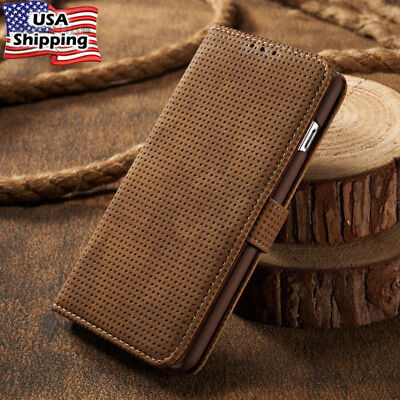 Vintage Leather Magnetic Folio Card Slot Wallet Case Cover For iPhone Samsung