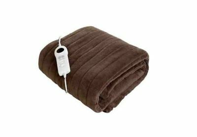 Luxury Heated Warm Soft Electric Over Blanket Washable Fleece Brown Sofa Throw