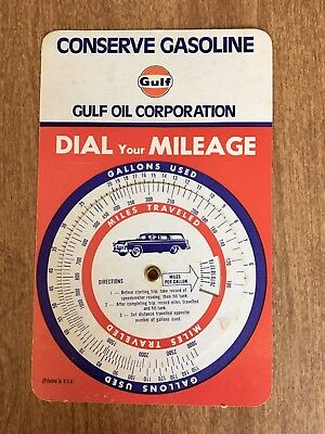 "Vintage Gulf Oil Corporation Gasoline ""Dial Your Mileage"" Advertising Card MINT"