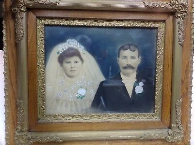 Antique wedding photo photograph picture oak framed 1800s