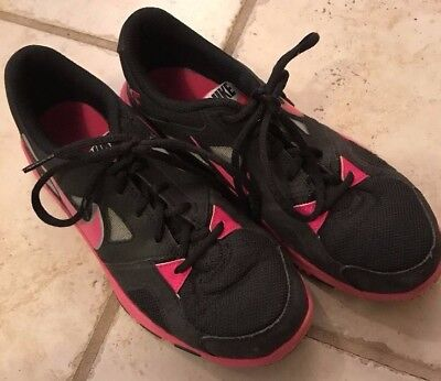 LN NIKE Girls Youth Tennis Athletic Shoes - Black & Pink - Size US 6Y, EU 38.5