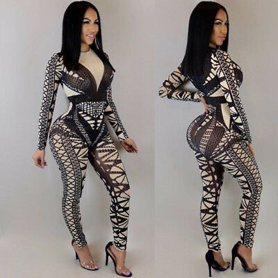 Sexy Women long sleeve clubwear Geometric print casual bodycon jumpsuit playsuit