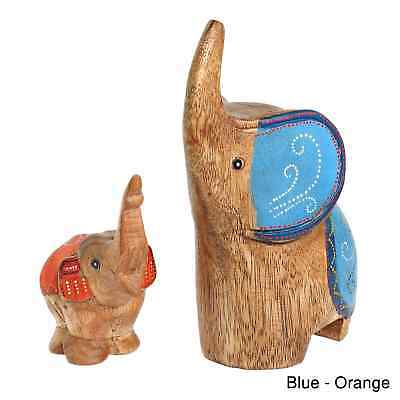 Handmade Two Elephants Mom And Baby Carved Wood Figurine Brown
