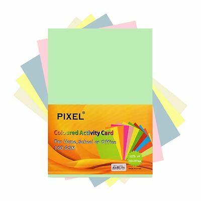 Pixel® Assorted Pastel Card 50 Sheets Home, School Office (160GSM - 50 Sheets)