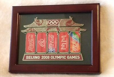 Beijing 2008 Olympic Games Coca-Cola pins framed complete set RARE