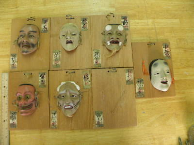 6 Mounted Miniature Noh Theater Masks with tags