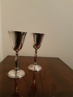 Pair Wine Goblets Vintage Electro Plated EPB Chrome Silver Plate Glasses