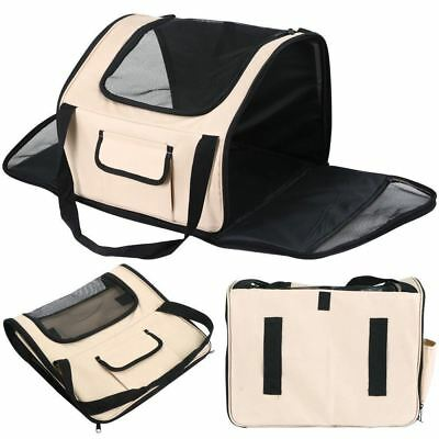 Beige Luxury Car Seat & Carrier Cat Small Dog Pet Puppy Travel Cage Booster