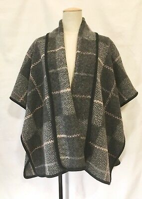 Vintage MELVIN Brussels Women's Gray Plaid Wool Poncho Cape 7 M 38