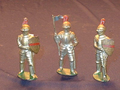 Estate Lot of 3 Vintage Barclay Hand Painted Cast Lead Knight Figures