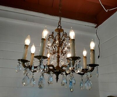 Antique Spanish 8 Arm Ornate Brass Chandelier with lot's of real crystals