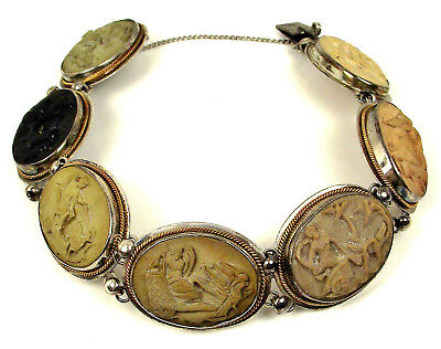 Antique 800 Silver Victorian Carved Lava Gods Goddess 7 Day Cameo