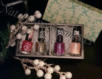 4 x Rimmel 60 Seconds Nail Polish Birthday- Occasion GIFT SET all 4 shades NEW