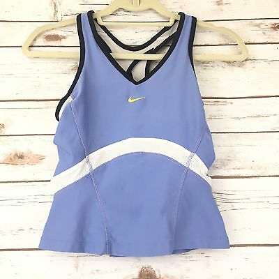 Nike Womens Top Size S Dri Fit Blue Mesh Racerback Stretch Athletic Bra Tank