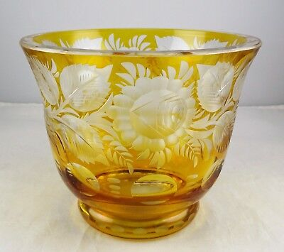 Bohemian Amber Cut to Clear Art Glass Squat Vase Heavy Floral Engraving