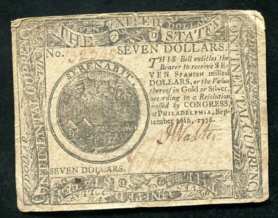 Cc-80 September 26, 1778 $7 Seven Dollars Continental Currency Note