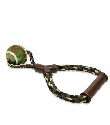 Dog rope toy with tennis ball army color