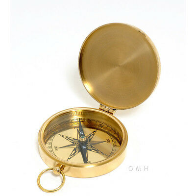 "Small Solid Brass Pocket Compass 3"" Decorative Nautical Decor New"